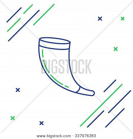 Blue And Green Line Traditional Ram Horn, Shofar Icon Isolated On White Background. Rosh Hashanah, J
