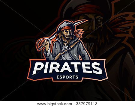 Pirate Vector Logo Template. Pirate Sport Gaming Mascot Logo Template. Esport Gaming Mascot Logo Tem