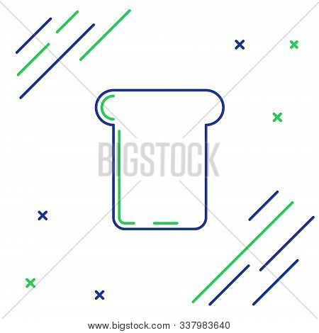 Blue And Green Line Bread Toast For Sandwich Piece Of Roasted Crouton Icon Isolated On White Backgro