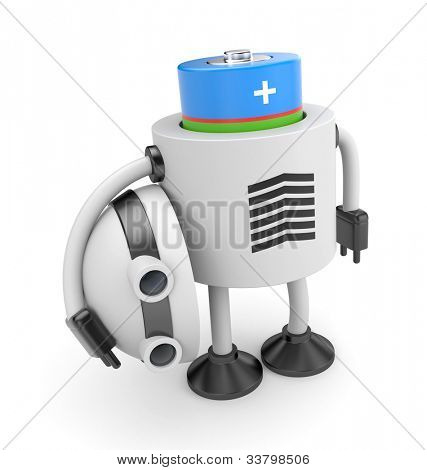 Robot changes battery