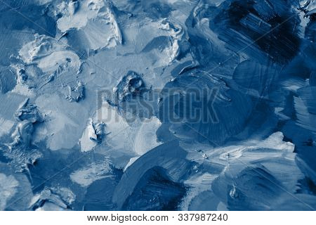 Classic Blue Color Brushstrokes In Oil On Canvas. Abstract Classic Colour Acrylic Painted Background