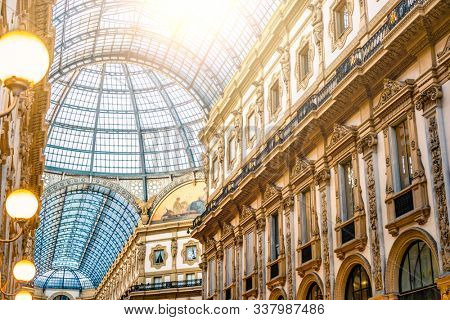 Galleria Vittorio Emanuele II glass dome in Milan
