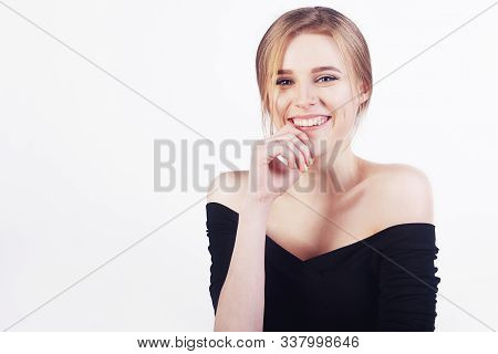 Happy Cheerful Young Woman With Perfect Teeth And Clean Skin Smile. Beautiful Wide Smile Of Young Fr