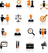 set of business and strategy icons poster
