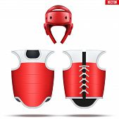 Taekwondo equipment set. Helmet with bodyguard. Front and back view. Red Color. Fighting Sport Equipment. Editable Vector illustration Isolated on white background. poster