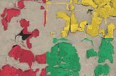 Guinea Bissau flag depicted in paint colors on old obsolete messy concrete wall closeup. Textured banner on rough background poster