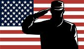 Vector art of a military serviceman saluting the American flag poster