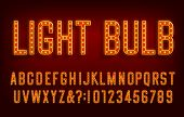 Light Bulb alphabet font. Shiny Letters and numbers with shadows. Vector typescript for your typography design. poster