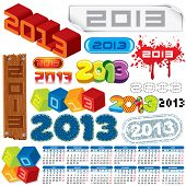 2013 Year. Vector Calendar and Labels. Week Starts on Monday poster