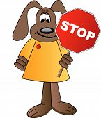 cartoon dog holding stop sign - crossing guard poster