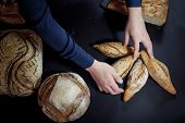 Various French breads, such as baguette, petits pains & loafs of sourdough, pain de campagne, some being held by female hands of a a baker. These breads are symbol of French gastronomy, made of yeast called levain. poster