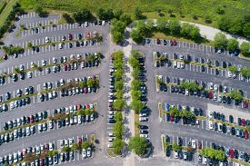 Aerial view of a parking lot at an office building in the suburbs of Chicago.