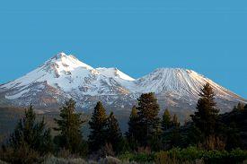 Mount Shasta Volcano At Sunset, California, Usa