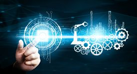 Futuristic Industry 4.0 Engineering Concept.