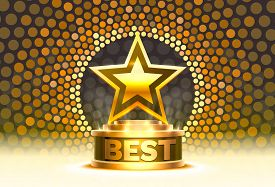 Best Golden Cup Star Winner, Stage Podium Scene With For Award Ceremony On Night Background.