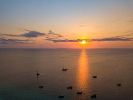 Beautiful Zanzibar Nungwi Beach Fisherman Boats At Sunset Time Aerial View