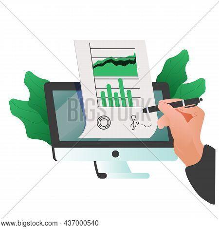 Man Putting Esignature Into Legal Document. Digital Signature Concept. Businessman Signing An Agreem