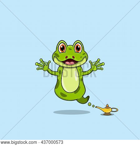Cute And Funny Animals With Frog. Genie Character. Perfect For Mascot, Logo, Icon, And Character Des