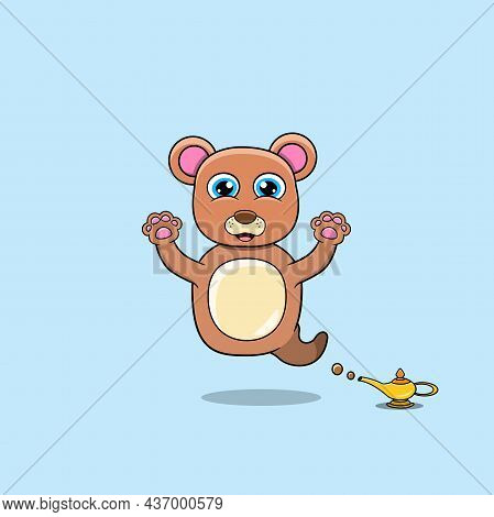 Cute And Funny Animals With Bear. Genie Character. Perfect For Mascot, Logo, Icon, And Character Des