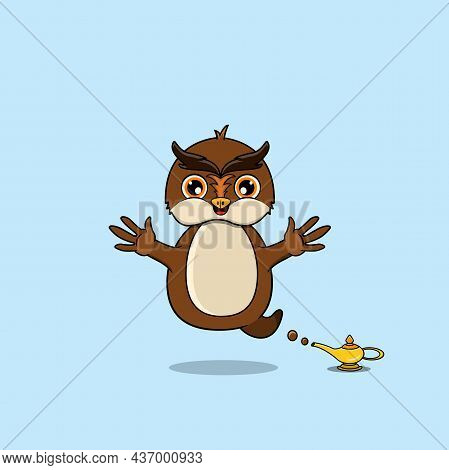 Cute And Funny Animals With Owl. Genie Character. Perfect For Mascot, Logo, Icon, And Character Desi