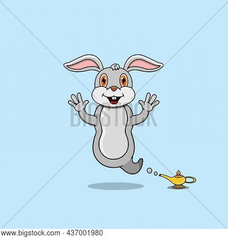 Cute And Funny Animals With Rabbit. Genie Character. Perfect For Mascot, Logo, Icon, And Character D