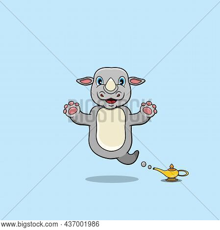 Cute And Funny Animals With Rhino. Genie Character. Perfect For Mascot, Logo, Icon, And Character De