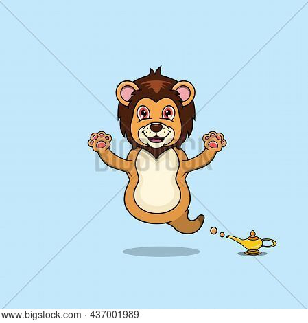 Cute And Funny Animals With Lion. Genie Character. Perfect For Mascot, Logo, Icon, And Character Des
