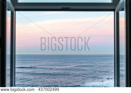 Beautiful Pink Sunrise Over Atlantic Ocean Waters In Porto Through The Open Window, Portugal, Copy S