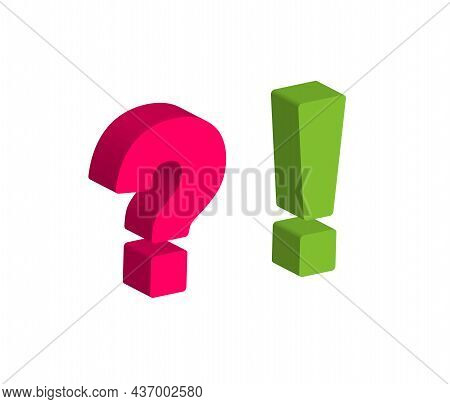 Large Red Question Mark And Green Exclamation Mark Isometric.