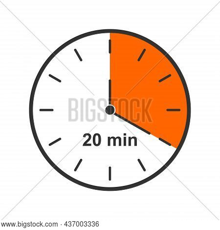 Clock Icon With 20 Minute Time Interval. Countdown Timer Or Stopwatch Symbol. Infographic Element Fo
