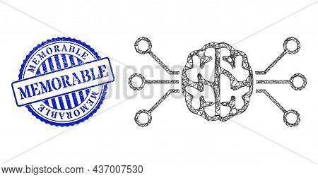 Vector Net Mesh Brain Circuit Frame, And Memorable Blue Round Textured Stamp. Wire Frame Net Image C