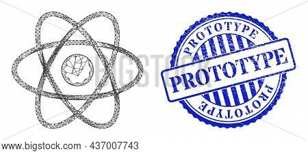 Vector Net Mesh Atom Framework, And Prototype Blue Round Rubber Stamp Seal. Hatched Frame Net Image