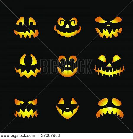 Glowing Pumpkin Faces Emoticons. Scary Halloween Emojis Of Angry Ghost, Or Alien, Spooky Creatures W