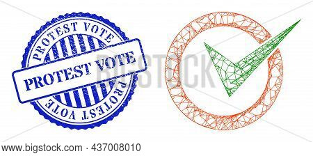 Vector Crossing Mesh Checkbox Circle Carcass, And Protest Vote Blue Round Corroded Seal. Crossed Fra