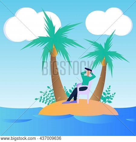 Vector Illustration Of Vacation Concept In A Secluded Recreation Location. Relieve Fatigue During Wo