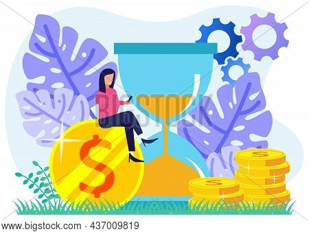Flat Style Vector Illustration Of Business People Managing Working Time And Achieving Success With T