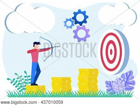 Flat Style Vector Illustration Of A Goal As A Business Target. Successful Results, Profits And Resul