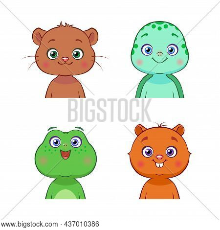 Vector Set Of Forest And Aquatic Animals. Isolated Cute Baby Otter, Turtle, Frog, Beaver. Hand Drawn