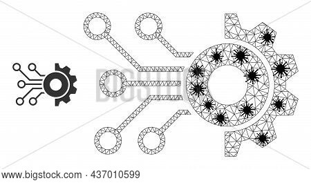 Mesh Polygonal Gear Circuit Icon Illustration In Infection Style. Carcass Model Is Based On Gear Cir