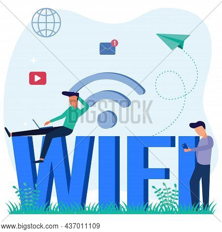 Vector Illustration Of Modern Style Free Wifi For Users Of Wireless Wireless Connection Points, Wire