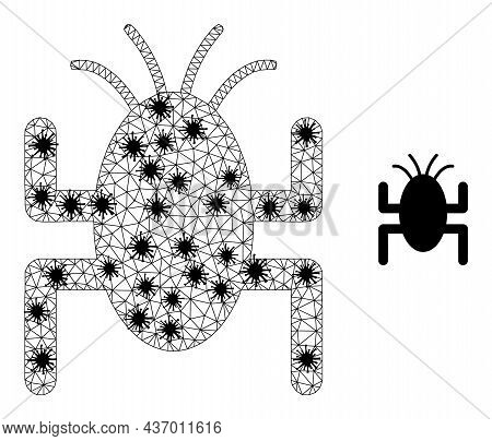 Mesh Polygonal Bug Tick Icon Illustration With Outbreak Style. Abstraction Is Based On Bug Tick Icon