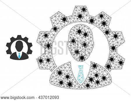 Mesh Polygonal Industrial Manager Icon Illustration With Lockdown Style. Carcass Model Is Created Fr