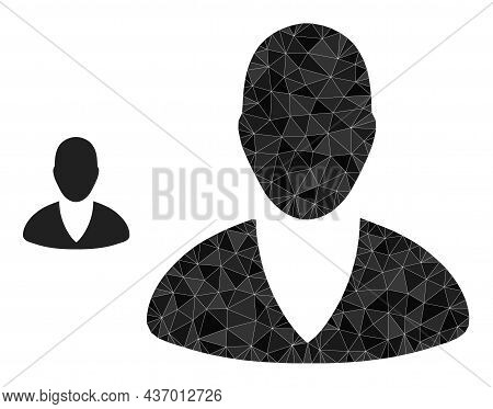 Low-poly Client Profile Icon On A White Background. Flat Geometric Polygonal Symbol Based On Client
