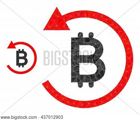 Lowpoly Bitcoin Chargeback Icon On A White Background. Flat Geometric Mesh Illustration Based On Bit