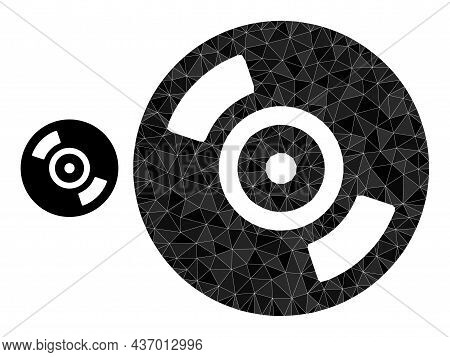 Lowpoly Cd Disc Icon On A White Background. Flat Geometric Polygonal Illustration Based On Cd Disc I