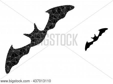 Lowpoly Flying Bat Icon On A White Background. Flat Geometric Polygonal Symbol Based On Flying Bat P