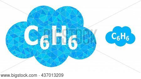 Low-poly Benzene Cloud Icon On A White Background. Flat Geometric 2d Modeling Illustration Based On