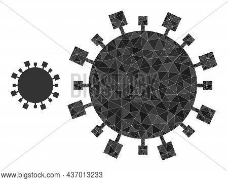 Lowpoly Digital Virus Icon On A White Background. Flat Geometric 2d Modeling Symbol Based On Digital