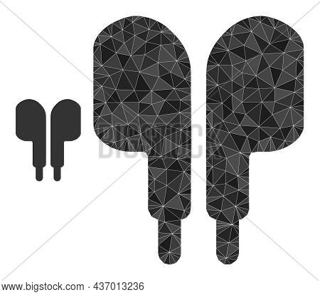 Lowpoly Compact Earphones Icon On A White Background. Flat Geometric Lowpoly Illustration Based On C