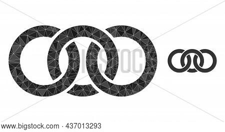 Lowpoly Circle Chain Link Icon On A White Background. Flat Geometric Polygonal Illustration Based On